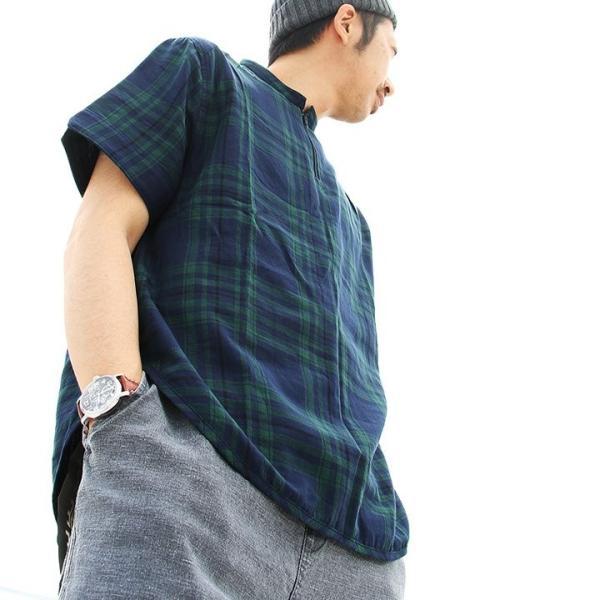 シャツ プルオーバー 半袖 ネック ハーフジップ付き コットン100% 綿100% ブラックウォッチ (セイル) SAIL  レディース メンズ|paty|16
