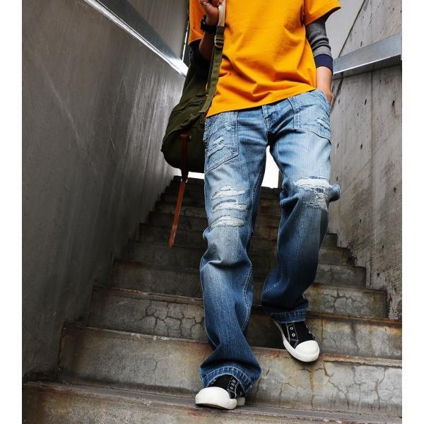 「13年JEANS」ヴィンテージ ストレート デニム byIwato. ジーンズ (ブルート) BLUETO  レディース メンズ paty 11