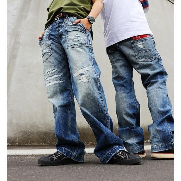 「13年JEANS」ヴィンテージ ストレート デニム byIwato. ジーンズ (ブルート) BLUETO  レディース メンズ paty 03