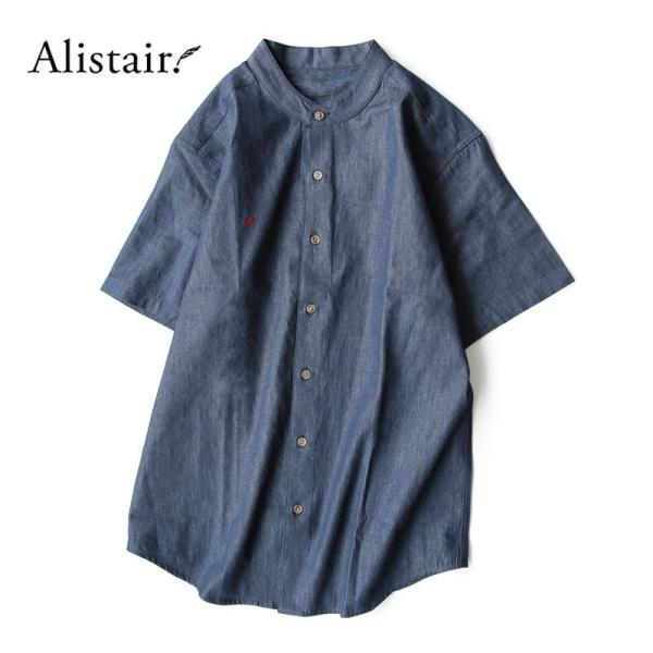 シャツ 半袖 春夏 バンドカラー デニム 配色 ワンポイント 星 スター 刺繍 綿100% メンズ レディース ALISTAIR|paty|02