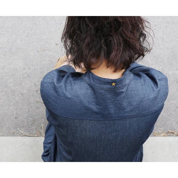 シャツ 半袖 春夏 バンドカラー デニム 配色 ワンポイント 星 スター 刺繍 綿100% メンズ レディース ALISTAIR|paty|04