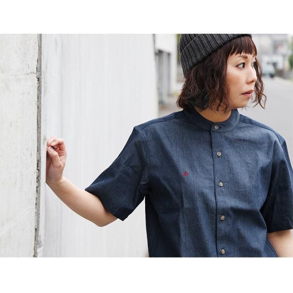 シャツ 半袖 春夏 バンドカラー デニム 配色 ワンポイント 星 スター 刺繍 綿100% メンズ レディース ALISTAIR|paty|06