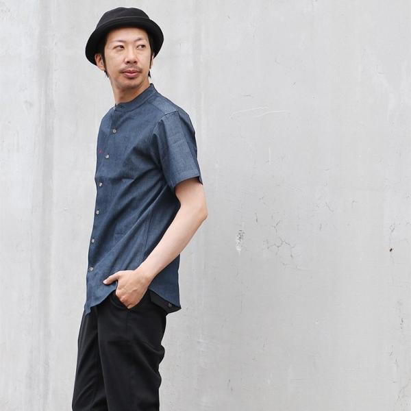シャツ 半袖 春夏 バンドカラー デニム 配色 ワンポイント 星 スター 刺繍 綿100% メンズ レディース ALISTAIR|paty|07
