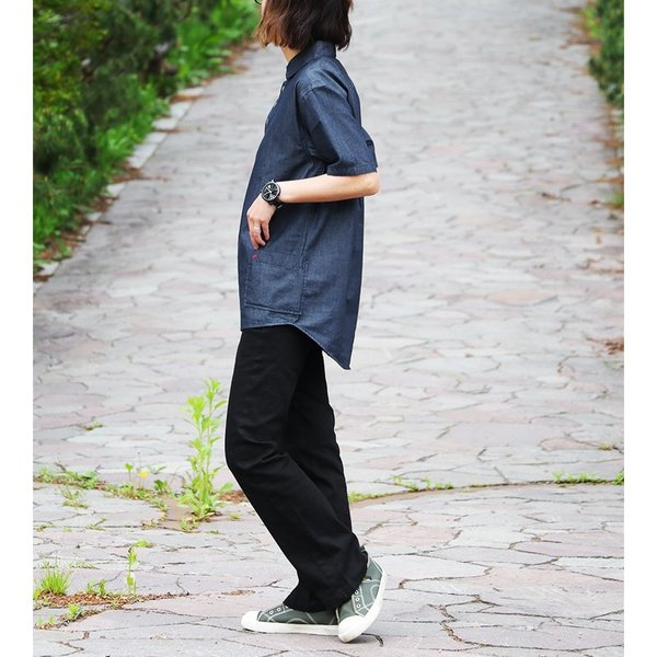 シャツ 半袖 丸襟 プルオーバー デニム 配色 ワンポイント 刺繍 綿100% メンズ レディース ALISTAIR 春 夏 40代 50代|paty|06