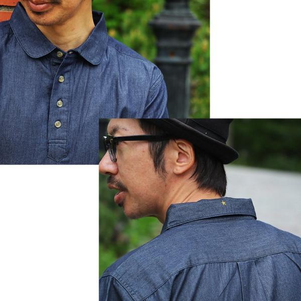 シャツ 半袖 丸襟 プルオーバー デニム 配色 ワンポイント 刺繍 綿100% メンズ レディース ALISTAIR 春 夏 40代 50代|paty|07