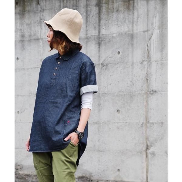 シャツ 半袖 丸襟 プルオーバー デニム 配色 ワンポイント 刺繍 綿100% メンズ レディース ALISTAIR 春 夏 40代 50代|paty|08