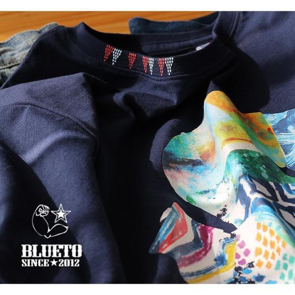 Tシャツ 半袖 カットソー クルーネック  ES 星 スター プリント  綿100% 米綿 BLUETO レディース メンズ 春夏 おしゃれ|paty|08