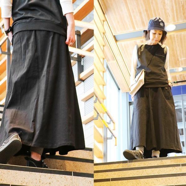 スカート マキシ丈 春夏 ロングスカート クライミング ウェビングベルト ストレッチ フレア レディース Spants paty 04