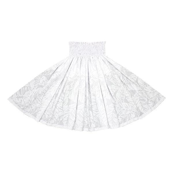 白のパウスカート バナナリーフ柄 2681WH フラダンス 衣装 pauskirt