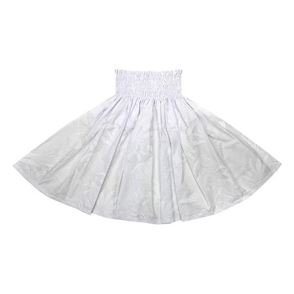 白のパウスカート オーキッド・トライバルリーフ柄 2693WH フラダンス 衣装|pauskirt