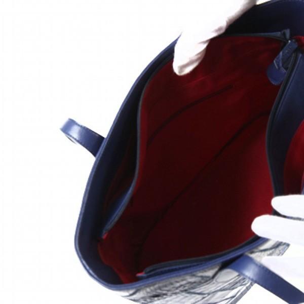 【新品】  トートバッグ クロコダイル パッチワーク 天ファスナー LB-7001 アイリスブルー IRIS BLUE ショルダーバッグ