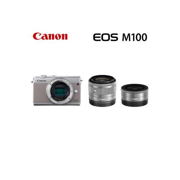 Canon キヤノン ミラーレス一眼 EOS M100 ダブルレンズキット デジタルカメラ EOSM100GY-WLK グレー