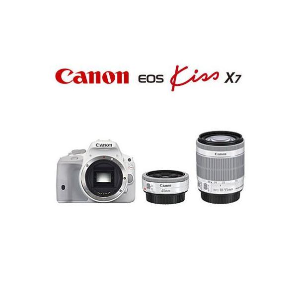 キヤノン デジタル一眼レフカメラ EOS Kiss X7 ダブルレンズキット2 KISSX7WH-WLK2 ホワイト