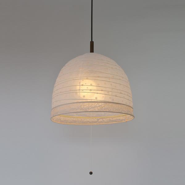 彩光デザイン 和照明 和紙照明 ペンダントライト 2灯 【電球別売】 PDN-40-hana 透かし花×落水紙オレンジボーダー 日本製 和風照明