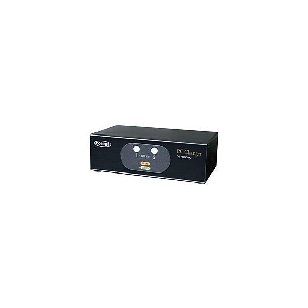 【在庫目安:お取り寄せ】 コレガ CG-PC2KVMC-W 法人向け PC2台用 PS/ 2&USBコンボ、VGA対応、パソコン自動切替器(ボックスタイプ) WEBモデル
