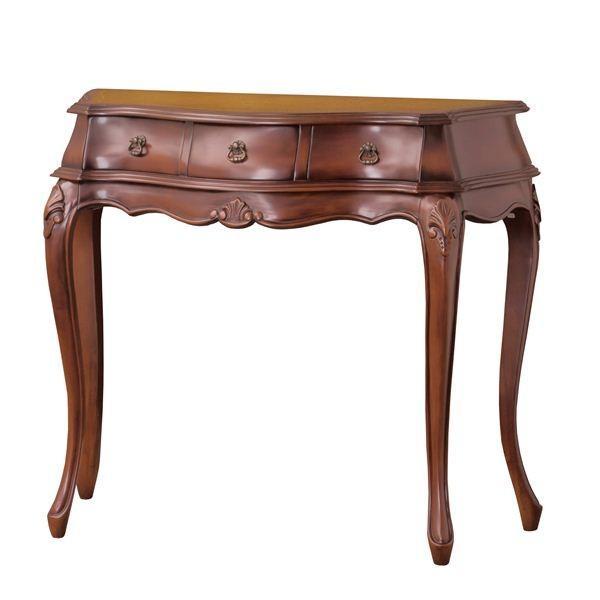 アンティーク調サイドテーブル/コンソールテーブル 〔幅90cm ブラウン〕 木製/マホガニー 『コモ』 猫足 〔組立〕