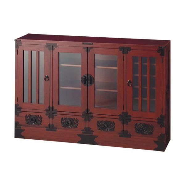 飾り棚〔大〕(民芸調シリーズ) 木製(天然木) 幅120cm×奥行30cm 扉/引き出し収納付き
