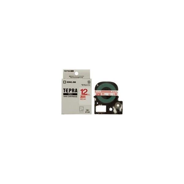 (業務用50セット) キングジム テプラPROテープ/ラベルライター用テープ 〔幅:12mm〕 ST12R 透明に赤文字