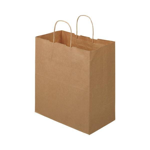 (まとめ)TANOSEE 紙手提袋 丸紐マチ広・中 ヨコ320×タテ350×マチ幅180mm 茶無地 1パック(50枚)〔×5セット〕