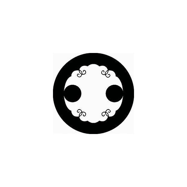 家紋シール 白紋黒地 花分銅 布タイプ 直径40mm 6枚セット NS4-0310W