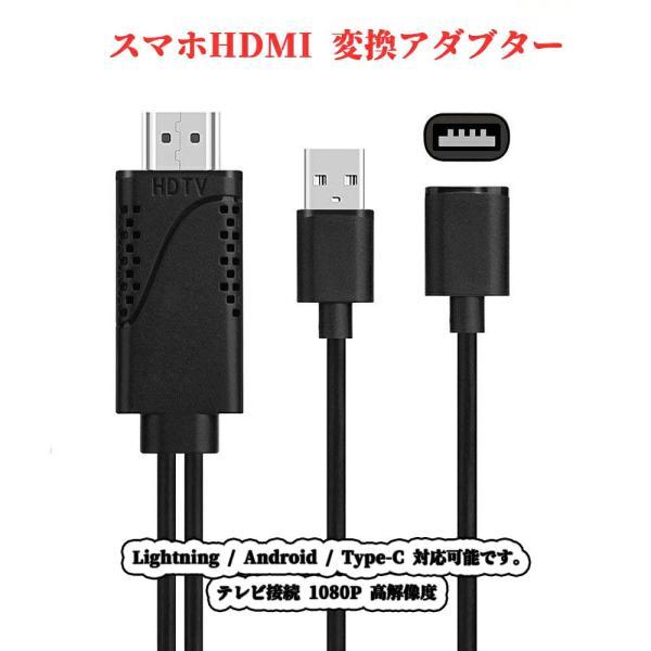 androidiPhonetoHDMI変換アダブタースマホtoHDMI変換ケーブルテレビ接続1080P高解像度