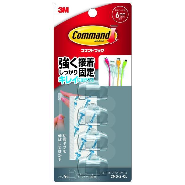 3M スリーエム コマンド フック コード用 クリア Sサイズ フック4個 クリアタブ6枚 CMG-S-CL peaces