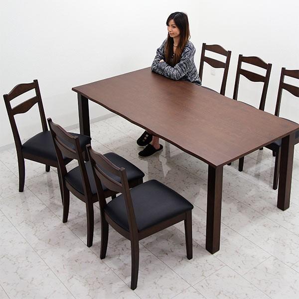ダイニングテーブルセット 7点 6人掛け 無垢材 オーク材 天然木 テーブル幅180 なぐり加工 長方形 座面