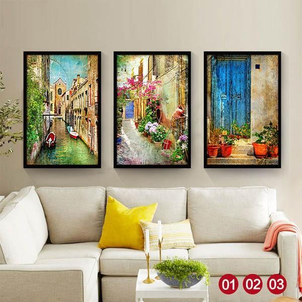30×40cm アートパネル 枠付きフレーム絵画 レトロ ヨーロピアン風景 地中海 街 壁掛け インテリア絵画 ウォールデコ|peachy