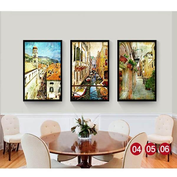 30×40cm アートパネル 枠付きフレーム絵画 レトロ ヨーロピアン風景 地中海 街 壁掛け インテリア絵画 ウォールデコ|peachy|02