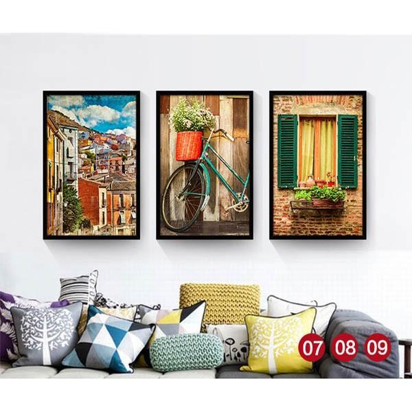 30×40cm アートパネル 枠付きフレーム絵画 レトロ ヨーロピアン風景 地中海 街 壁掛け インテリア絵画 ウォールデコ|peachy|03