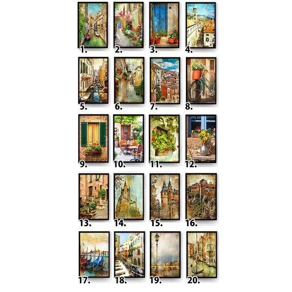 30×40cm アートパネル 枠付きフレーム絵画 レトロ ヨーロピアン風景 地中海 街 壁掛け インテリア絵画 ウォールデコ|peachy|06
