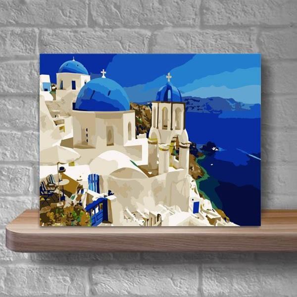 数字塗り絵 油絵風 ギリシャ サントリーニ島 海 大人の塗り絵 フレーム絵画 インテリア 風景 DIY 趣味 ぬり絵 ホビー ナンバーピクチャー|peachy