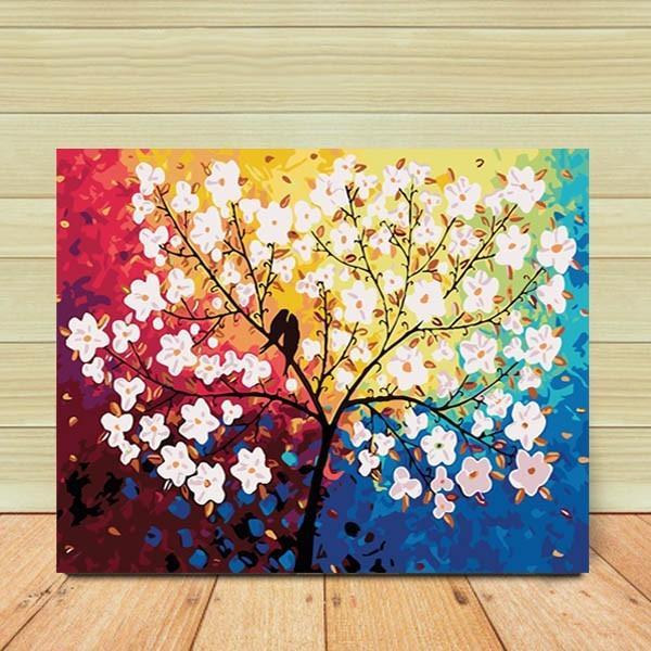 数字塗り絵 油絵風 虹色カラー 木蓮と小鳥 大人の塗り絵 フレーム絵画