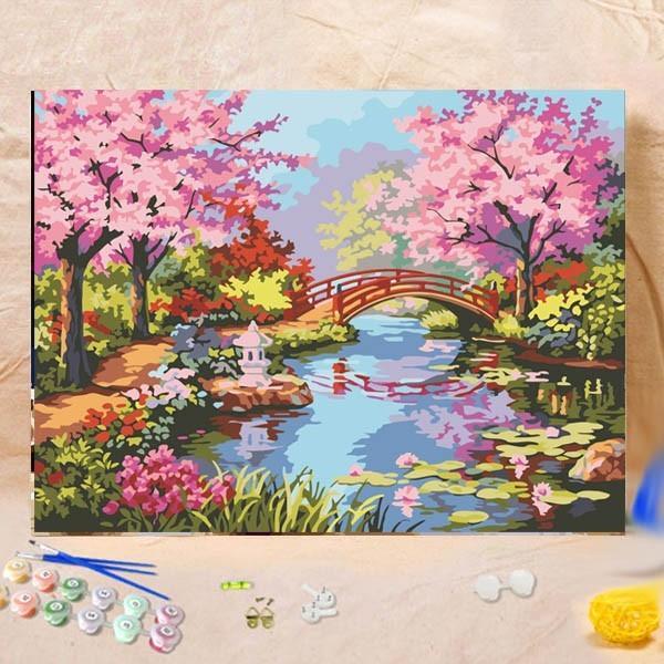 数字塗り絵 油絵風 日本庭園 桜 大人の塗り絵 フレーム絵画 インテリア