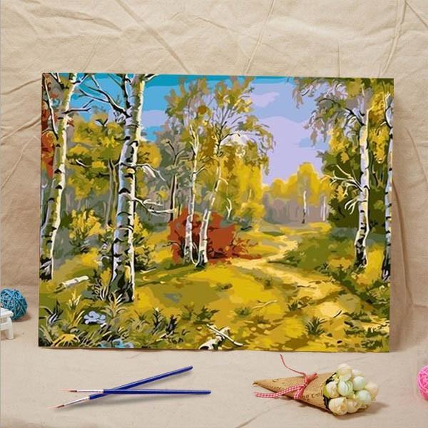 数字塗り絵 油絵風 白樺の木 森 自然 大人の塗り絵 フレーム絵画
