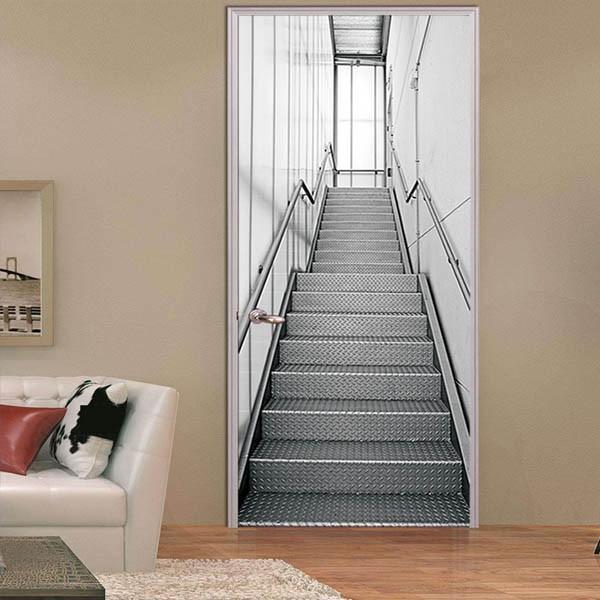 ドアステッカー トリックアート 階段 アルミ 機械的 コンコース だまし絵シール 近未来的 インテリア DIY peachy