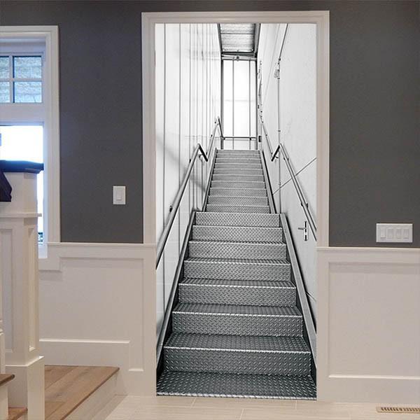 ドアステッカー トリックアート 階段 アルミ 機械的 コンコース だまし絵シール 近未来的 インテリア DIY peachy 04