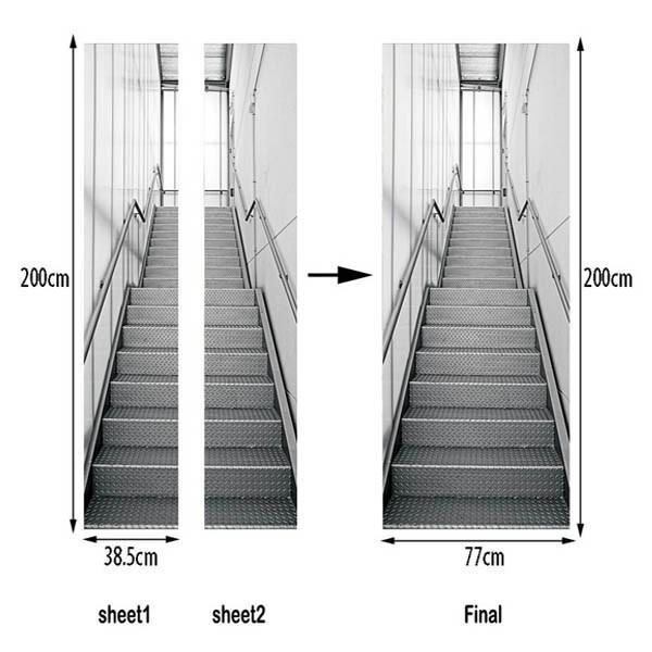 ドアステッカー トリックアート 階段 アルミ 機械的 コンコース だまし絵シール 近未来的 インテリア DIY peachy 05