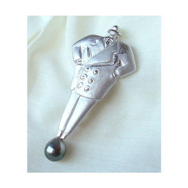 真珠ブローチ 黒蝶真珠 パールブローチ 8.0-8.5mm/sbro141