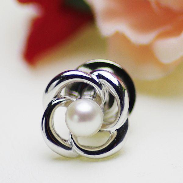 真珠 ブローチ 国産 アコヤ真珠 パール 約4.5mm シルバー ホワイト ラウンドあすつく対応