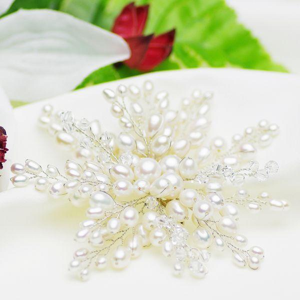 高級 淡水真珠 パール コサージュ ブローチ 約4.0-8.0mm 結婚式 冠婚葬祭 成人式 卒業式 入学式 母の日 プレゼント 大ぶり フォーマル