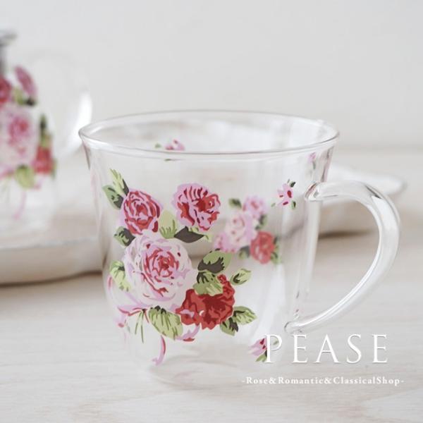 ガラスコップ 耐熱 おしゃれ 来客用 ティーグラス 薔薇雑貨 姫系雑貨 ローズビーナス耐熱カップ 明日つく|pease