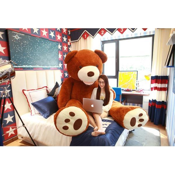 ぬいぐるみ特大くま テディベアクマ アメリカ コストコ 動物ぬいぐるみ 可愛い熊ふわふわ抱き枕プレゼント最適200cmダックブラウン|peluche