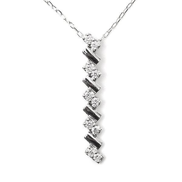天然 ダイヤモンド ネックレス K10WG 0.10ct 縦型 I(愛)ライン スイートテン ダイヤ|pendant|08