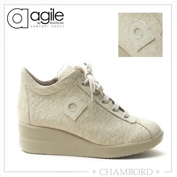 ルコライン 靴 アージレ agile RUCO LINE 靴 Baby Croco アイボリー色 agile-112 スニーカー|pendant|04
