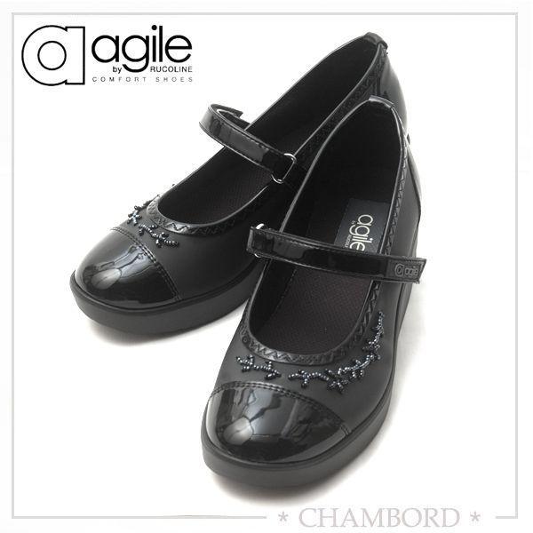 アージレ バイ ルコライン agile by RUCO LINE 靴 ICE ワンストラップシューズ ブラック/ビーズ付 agile-203|pendant