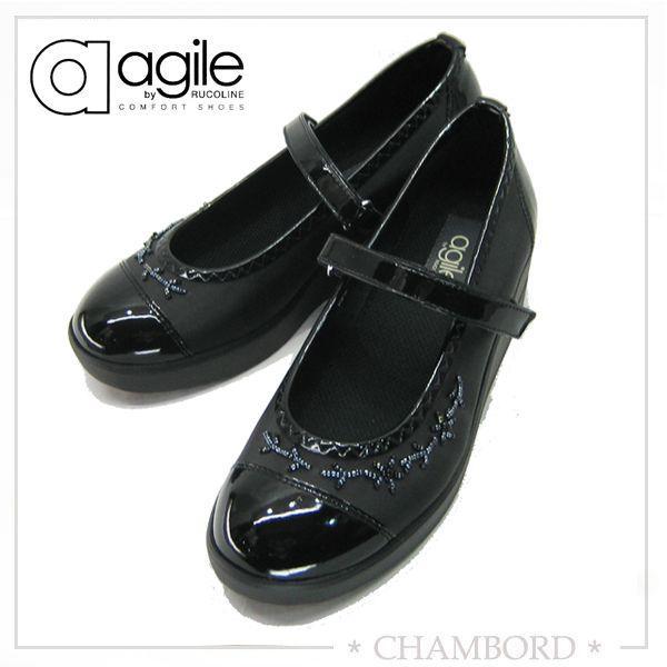 アージレ バイ ルコライン agile by RUCO LINE 靴 ICE ワンストラップシューズ ブラック/ビーズ付 agile-203|pendant|05