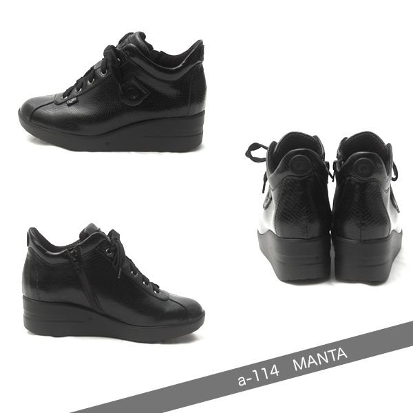 ルコライン スニーカー アージレ agile RUCO LINE 靴  MANTA マンタ ヘビ型押し サイド ファスナー付き ブラック 黒 agile-114 pendant 02