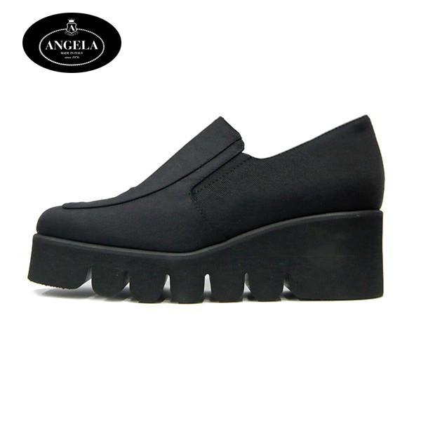 アンジェラ 靴 ローカット シューズ キャタピラ ソール ANGELA-052 ブラック/ブラウン|pendant