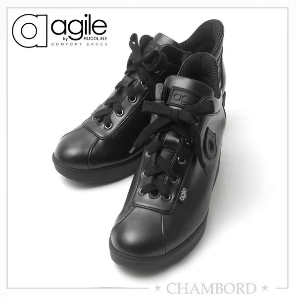 ルコライン スニーカー アージレ agile RUCO LINE 靴 CANTADORA マット ブラック 黒 ファスナー付き agile-123BK|pendant